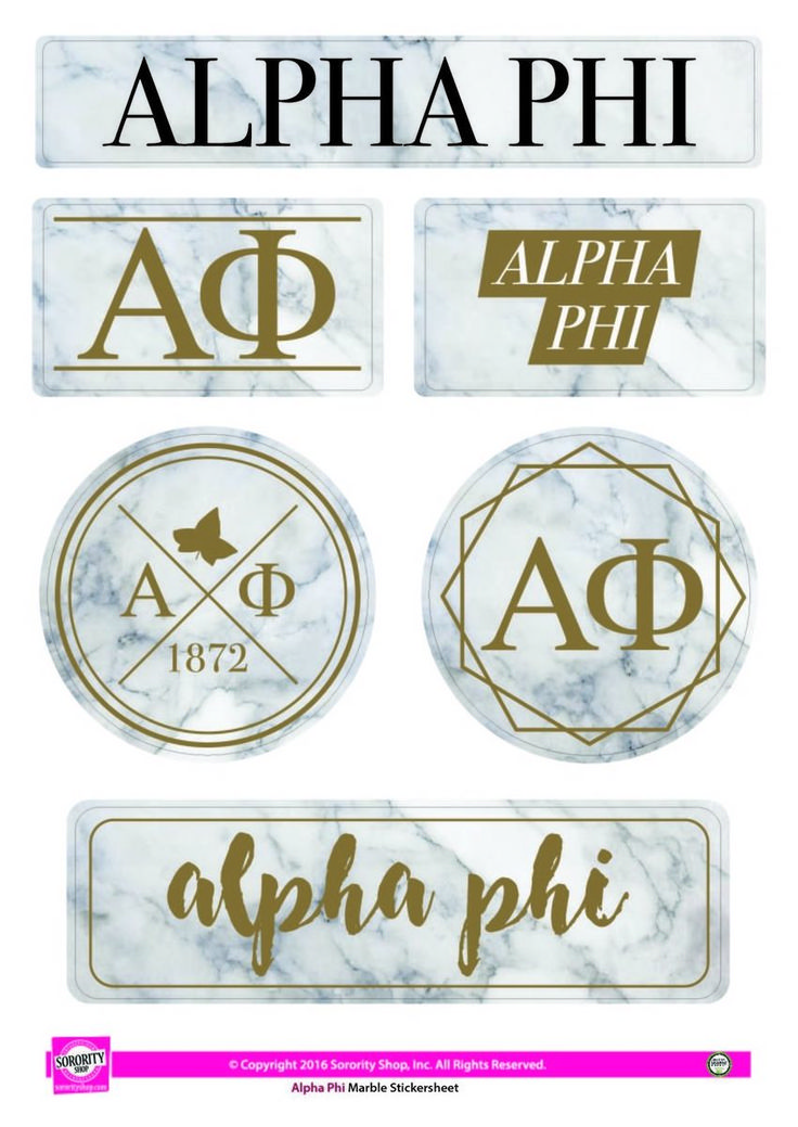 Alpha Phi Sorority Stickers- Marble - Brothers and Sisters' Greek Store