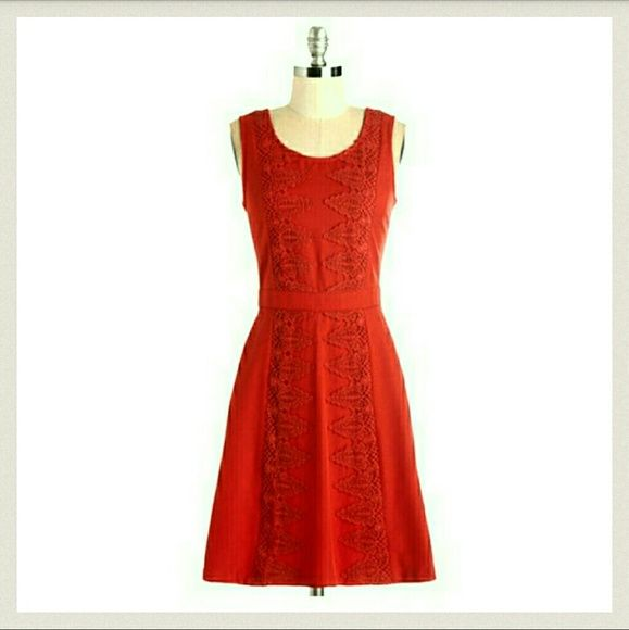 Doe & Rae Red Frock Dress Gorgeous and attractive frock with crocheted appliques and and A-line skirt size large, new with tags Doe & Rae Dresses