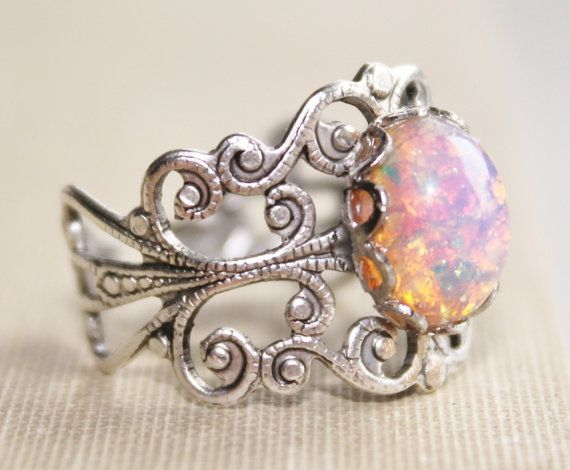 Vintage Silver Fire Opal Ring,Harlequin Opal,Silver Adjustable Filigree Ring,Opal Ring,Opal Jewelry,Antique,Birthstone,Fire Opal Ring