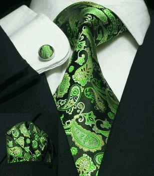 Men's Black Green Paisley 100% Silk Tie Set SilkNeckTiez 51A
