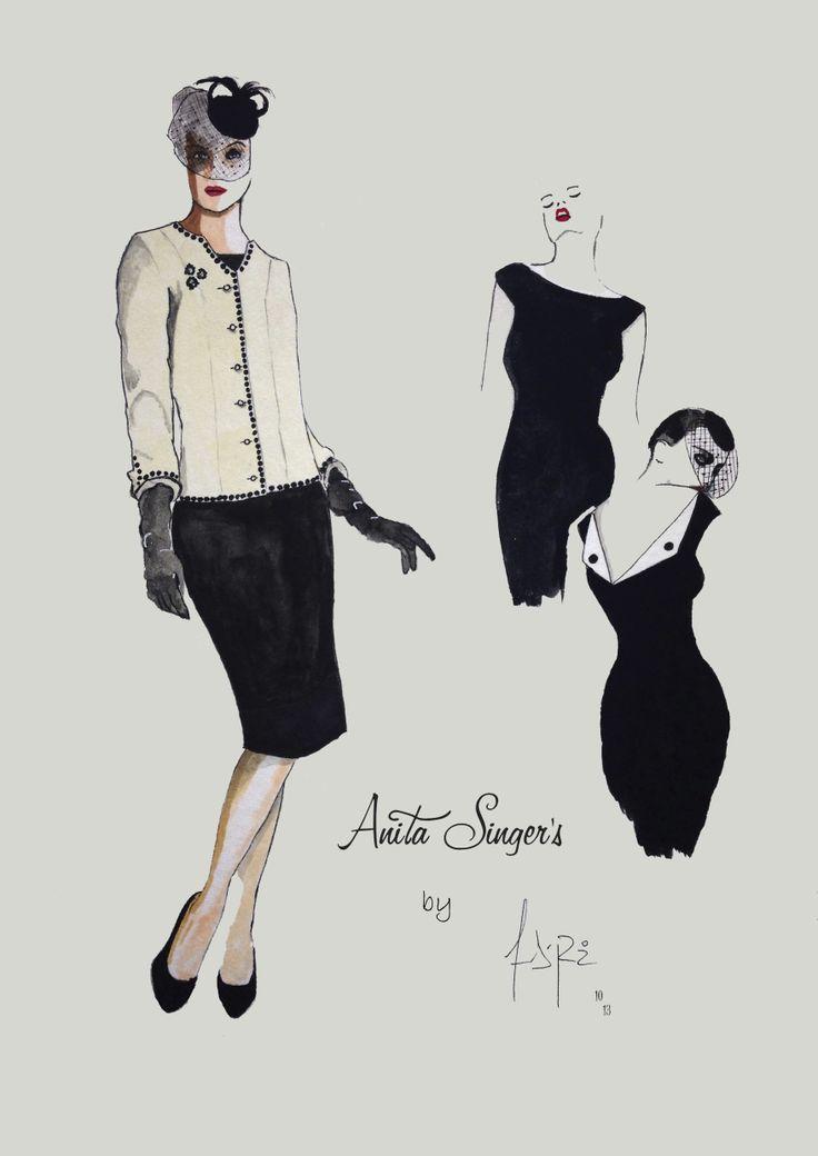 Ilustración Vestido y chaqueta  Pilar Marin By Anita Singers. Por Andres Ruiz Ilustrador. www.facebook.com/pages/Anita-Singers/565541916806170