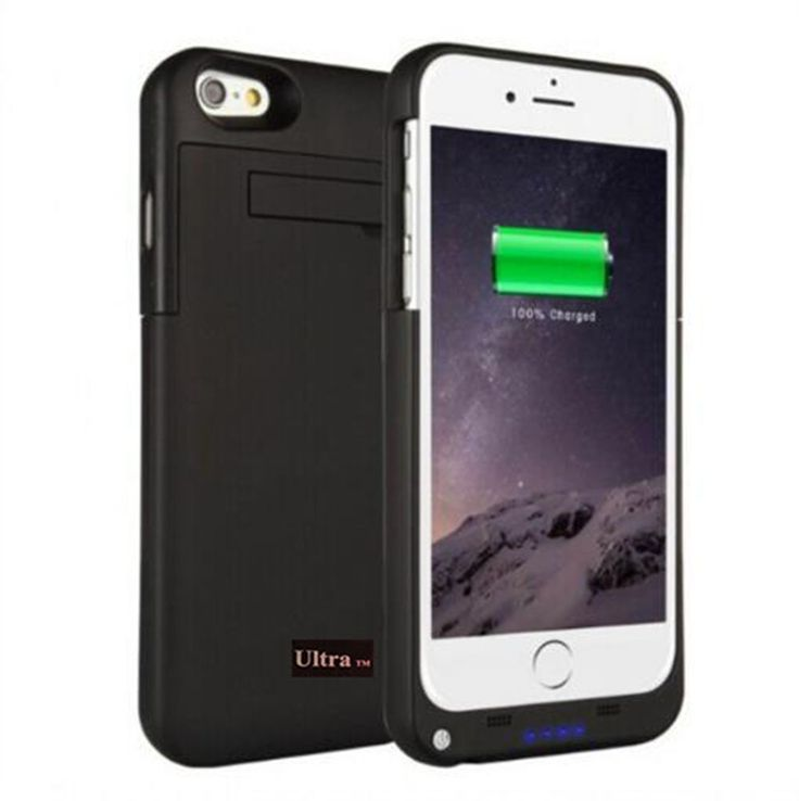 Black coloured charger power case for iPhone 7 and 7 plus mobile phones