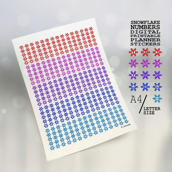Multicolor snowflake numbers Printable planner stickers, Snowflake emoticon stickers Blue red purple Smiley emoji kawaii Digital download S1