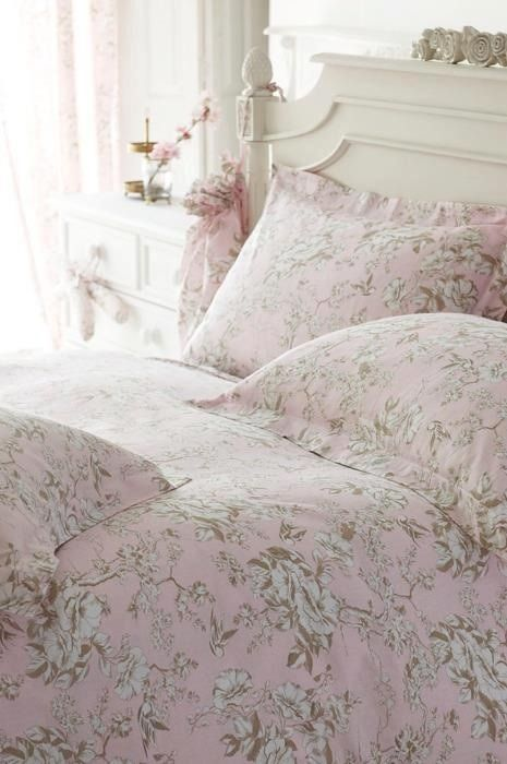 shabby chic bedroom romantic pink flowered bedding beautiful headboard