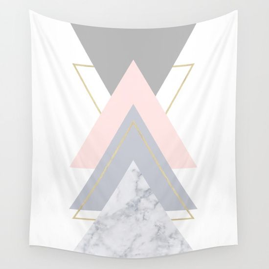 Available in three distinct sizes, our Wall Tapestries are made of 100% lightweight polyester with hand-sewn finished edges. Featuring vivid colors and crisp lines. on @society6.marble, blush, pink, rose, gray, gold, copper, geometry, geometric, triangles, Scandinavian, minimal, mid century , design, trend, white, fresh, modern, society6, art print, tapestry, window curtains, home decor, interior design, home style, wall art