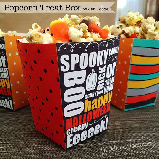Halloween Popcorn Treat Box Printable