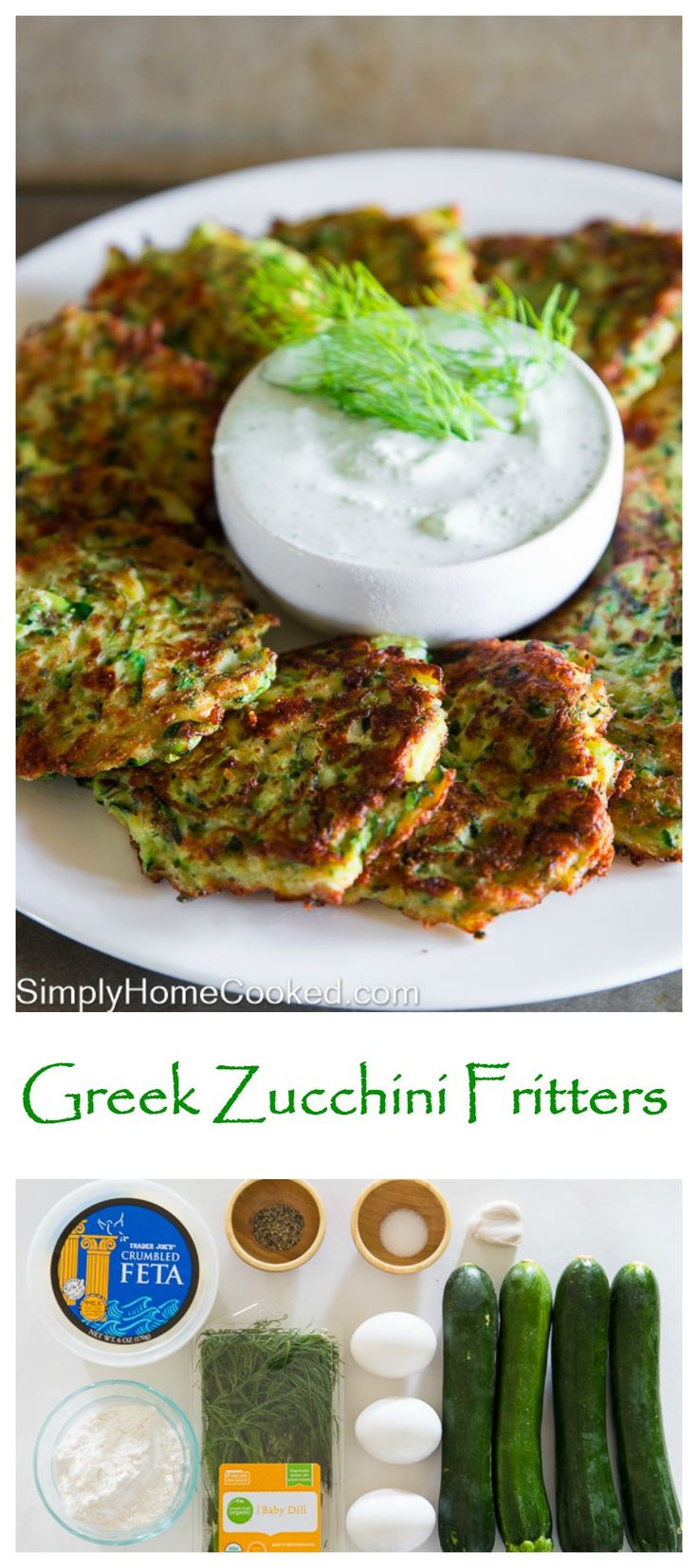 Crispy Greek zucchini fritters with fresh dill and crumbled feta cheese. Served with homemade tzatziki sauce.