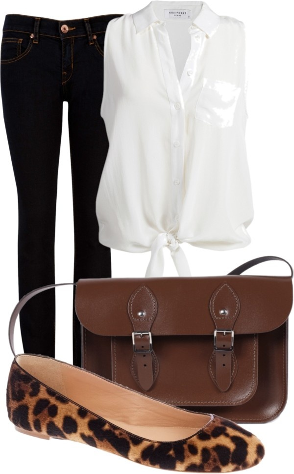 """White sheer button up or crochet button up tied at end with dark jeans, flats and crossbody bag or purse. """"Sem título #166"""" by agicah on Polyvore"""