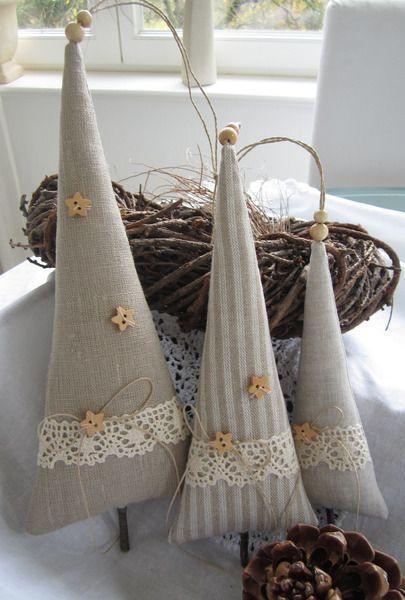 Alberelli di Natale imbottiti e rivestiti in tessuto - Il blog italiano sullo Shabby Chic e non solo