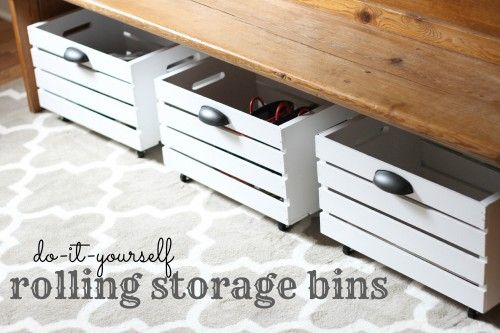 Easy DIY Rolling Storage Bins (+home office makeover) LOVE the church pew!