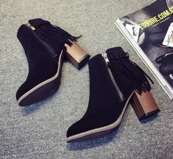 leather fringed short boots zipper tassel ankle shoes high-heeled boots