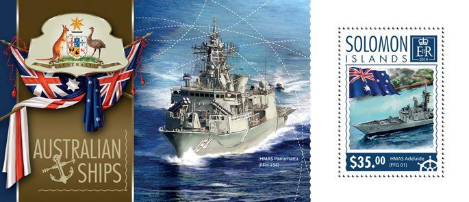 Post stamp Solomon Islands SLM 14601 bAustralian ships (HMAS Adelaide (FFG 01))