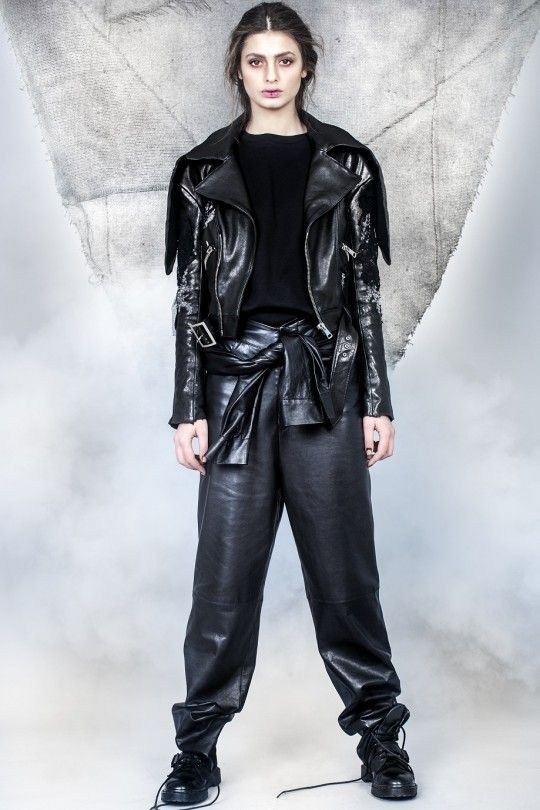 #ALMAZ Leather Embrodery Lace Jacket /// Leather Sleeves Trousers
