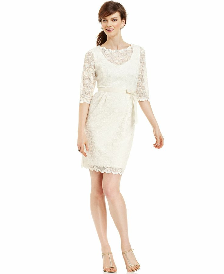 Alex Evenings Dress Three Quarter Sleeve Belted Lace