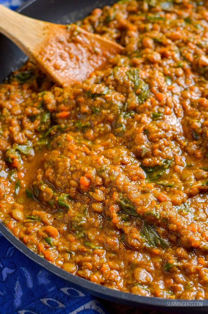 Delicious Syn Free Spicy Lentils and Spinach – a perfect meal for those meatless…