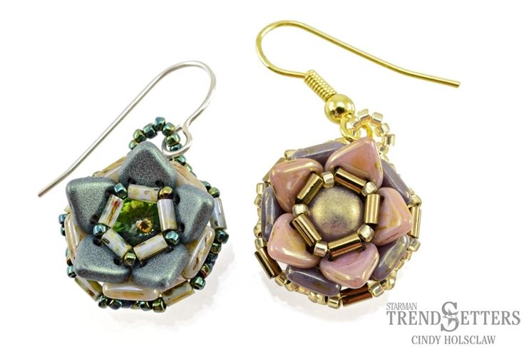 Tutorial for Bellflower Earrings by TrendSetter Cindy Holsclaw with CzechMates QuadraTile and Triangle