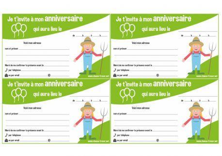 Invitations à imprimer pour anniversaire - La Ferme