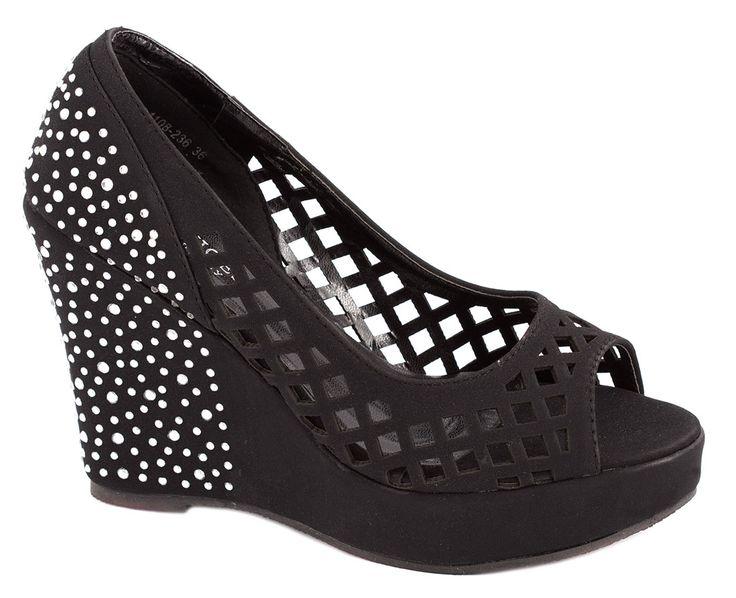 Pantofi cu platforma - Pantofi negri perforati 1108-236N - Zibra
