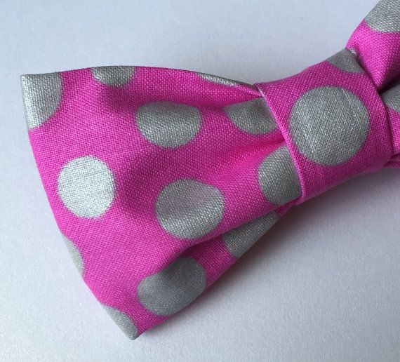 Hot Pink Bow tie  Silver Metallic Bow tie  by FlyTiesforFlyGuys