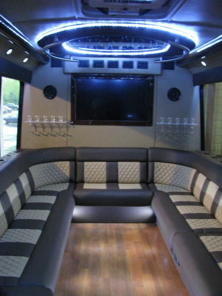 The rear interior of our brand new one of a kind 28 passenger limo bus