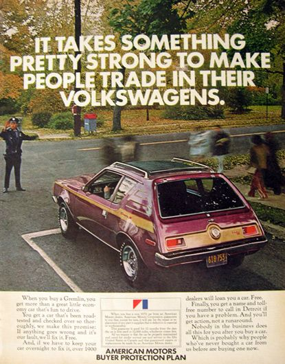 1972 AMC Gremlin Car Ad ~ Trade in a Volkswagen