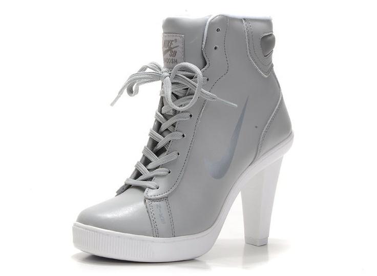 Nike Dunk Hi-Top Block Heels For Womens Grey Dunk SB heels with High top