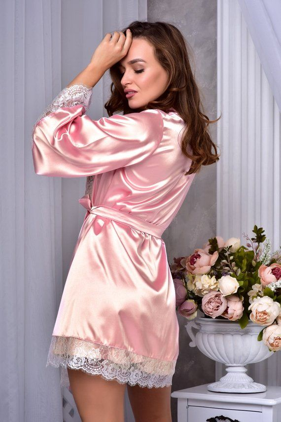 blush robe Pink robe with black lace kimono robe dressing gown pink nightgown short,satin robe bridal party robe getting ready robe