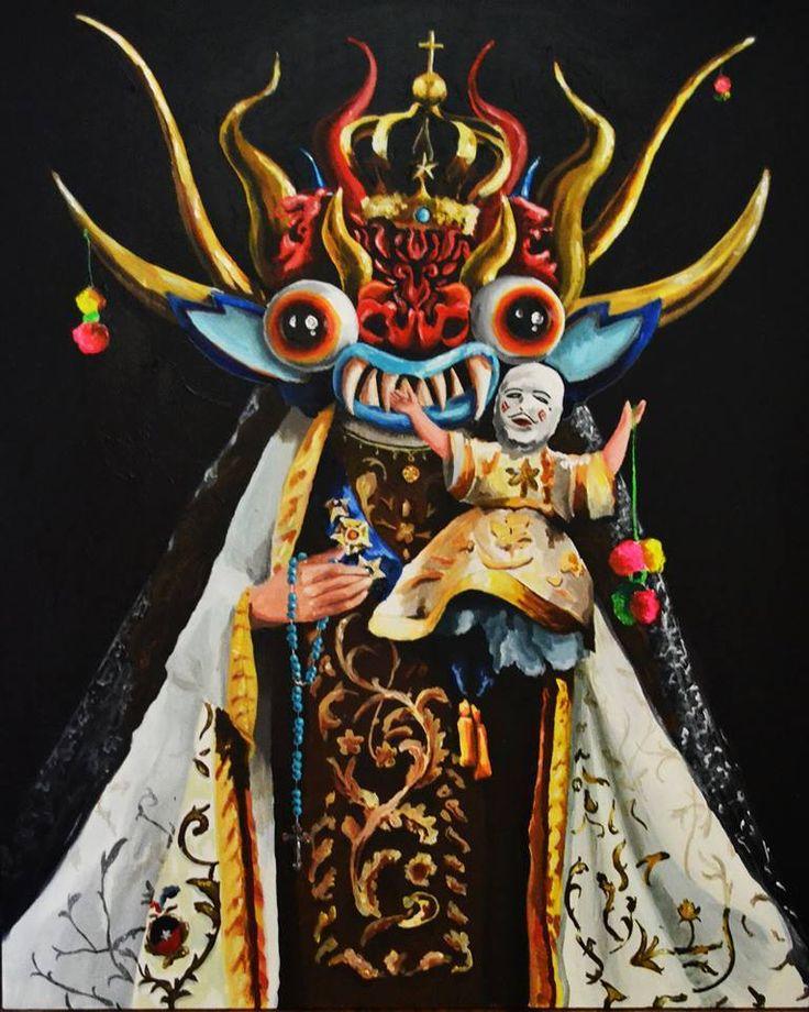 La  Virgen de los  tiranos acrilico sobre  tela