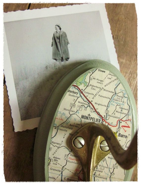 Bee Vintage Redux - Vermont Wall Hook, Vintage Travel Map