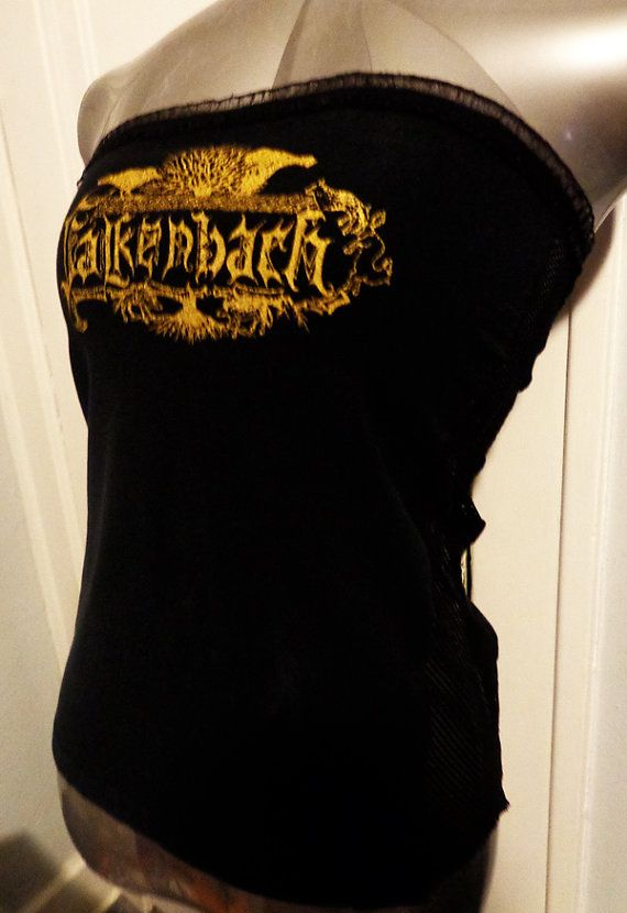 Falkenbach heavy metal folk metal pagan metal band shirt tube top DIY handmade top with fishnet sides, a unique flattering top  you wont find anywhere else. Only one available, once its gone its gone for good! Be the lucky owner! Only $26!! Ladies fit size s/m. www.etsy.com/shop/chopshopclothing facebook.com/chopshopclothing
