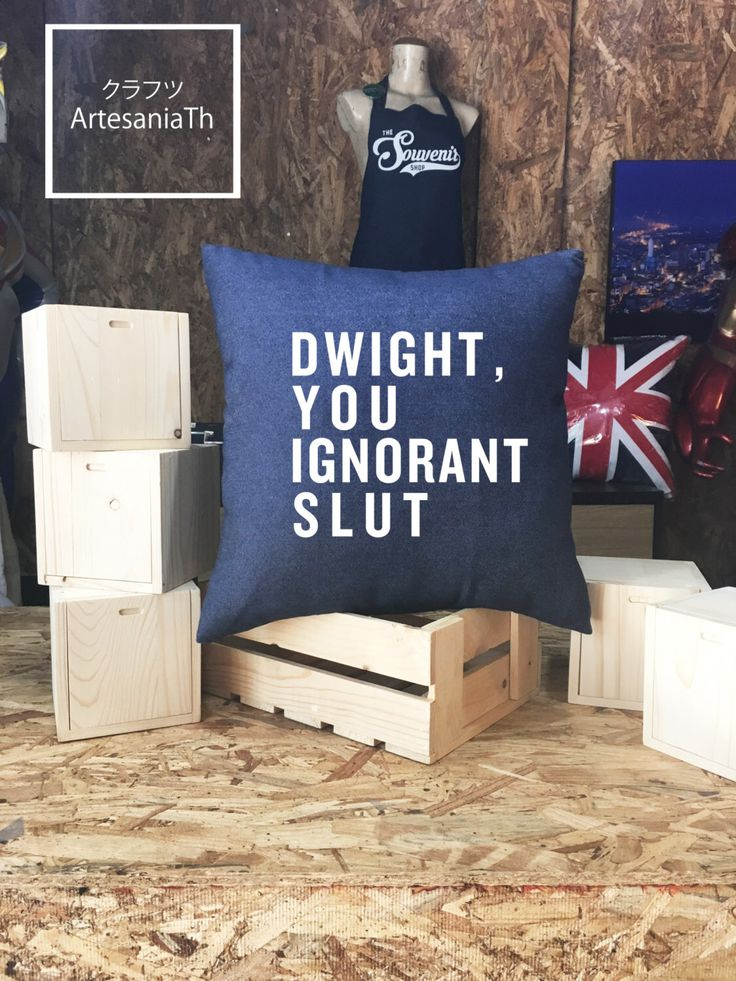 "The Office ""Dwight you ignorant slut Pillow case Jean cotton canvas, Cushion cover, small pillow case, The Office TV Show by ArtesaniaTh on Etsy https://www.etsy.com/listing/480847386/the-office-dwight-you-ignorant-slut"