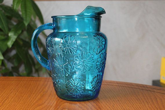 Vintage Blue Glass Pitcher with Ice Lip - Large Mid Century Modern Daisy Glass Pitcher - Vintage Ice Tea Pitcher - Vintage Juice Pitcher