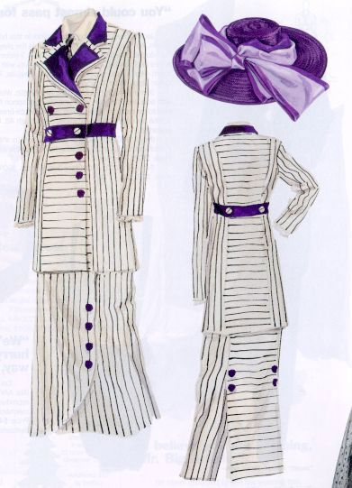 Detailed photos of the pin striped Edwardian Suit Costume as worn by Kate Winslet portraying Rose Dewitt Bukater in the 1997 film Titanic.