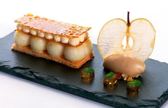 Galette of Cox's apple and mint opaline, black butter ice cream - Mark Jordan