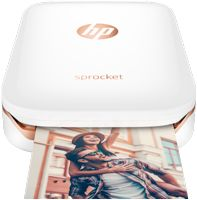 About The Size Of A Cell Phone/ Print Directly From The HP Sprocket App/ Seamless Bluetooth Connectivity/ 10 Sheet Pack Of Photo Paper Included/ White Finish