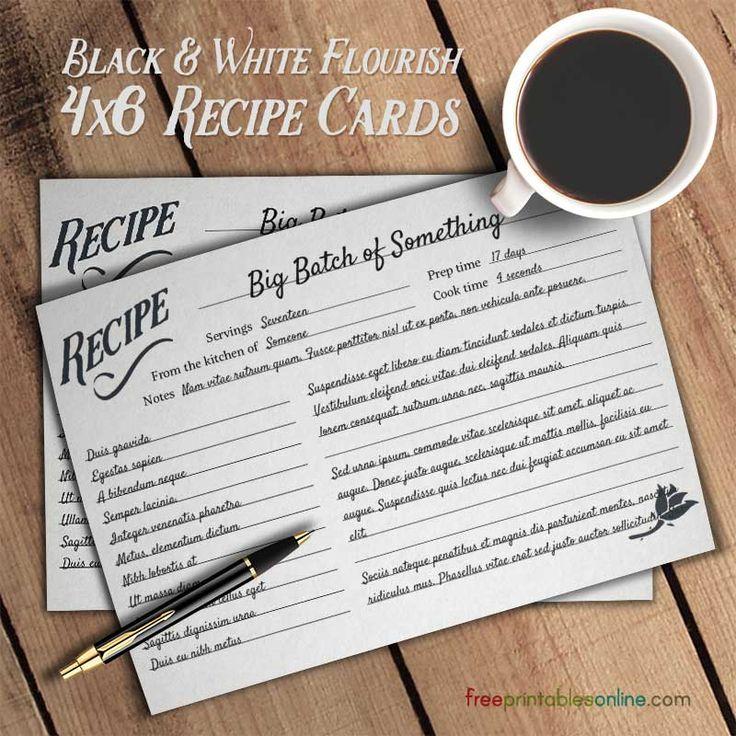 Flourish Black and White Simple Recipe Cards