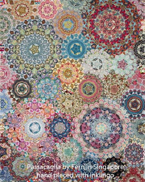 Passacaglia Quilt by Fern in Singapore with Inklingo - (This is not English Paper Piecing.) Sew with a running stitch for better results, faster.