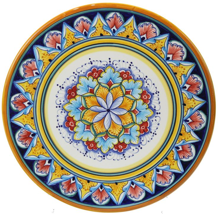 Italian Majolica Ceramic Cheese Plate - (1.5cm high x 25cm diameter) 3/4 in high x 10 in diameter