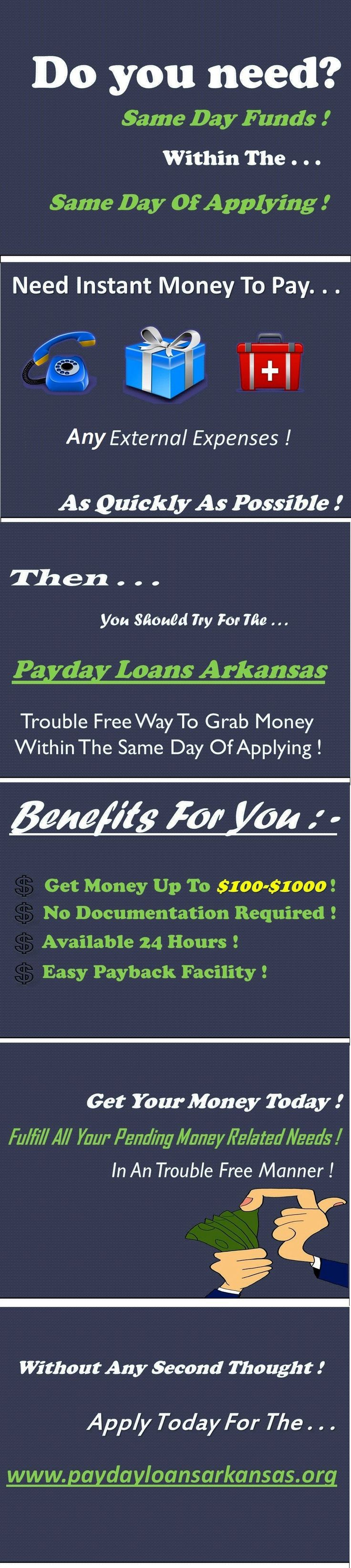 Instant payday loans arkansas help working class people to manage their unwanted cash deficit comfortably