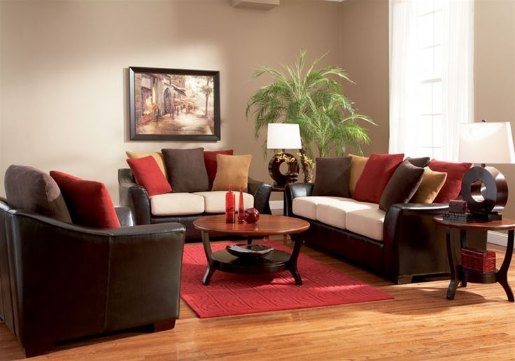 Living Room With Brown Sofa
