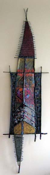 "Between the Worlds Mixed Media :: Adirondack Weaver Between the Worlds  29"" x 91""  sticks, paper, wire mesh, paint, pastel, beeswax & pine resin Huichol yarn, bead painting"