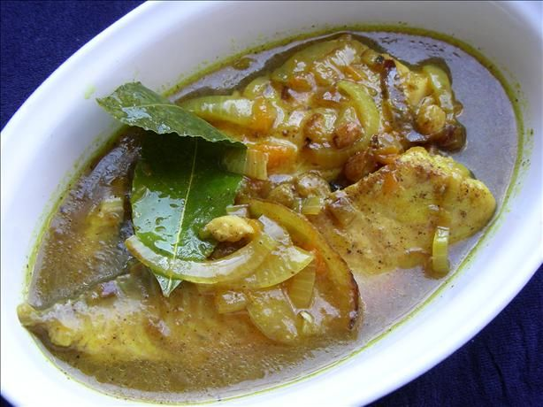 Pickled, curried white fish.