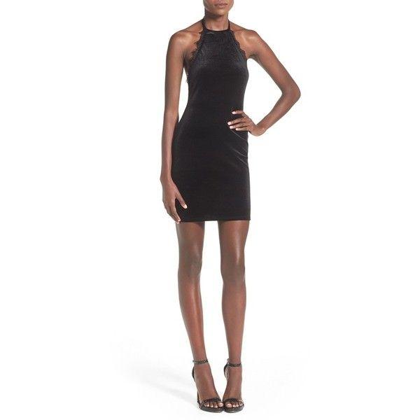 Missguided Lace Trim Velvet Halter Dress ($41) ❤ liked on Polyvore featuring dresses, black, velvet cocktail dress, scalloped dress, black dress, black tie cocktail dress and eyelash lace dress