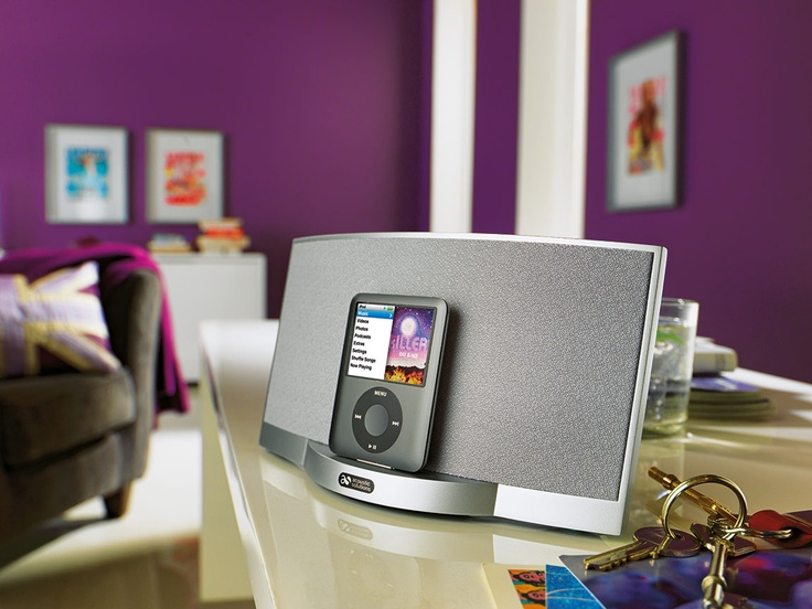 This Acoustic Solutions silver speaker dock from Argos blends perfectly with modern décor and designs.