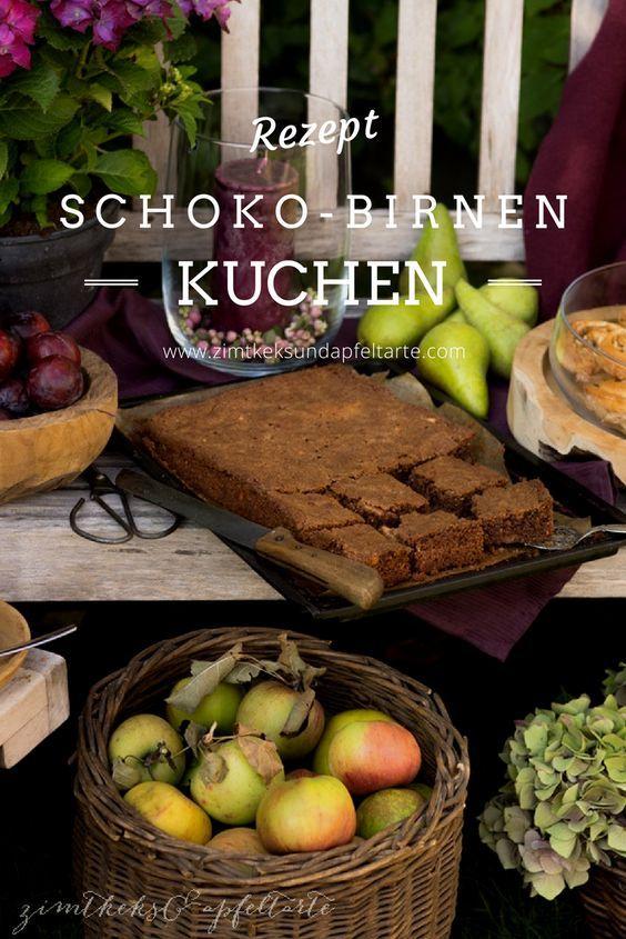 Rezept für einen einfachen und schnellen Schoko-Birnenkuchen auf dem Blech gebacken... Perfekter und leckerer Herbstkuchen