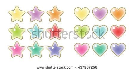 Glittering stars and heart icons. Cute design. Vector.