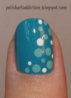 Bubbly: Polish Art, Nails Art, Nailart, Polkadot, Polka Dots Nails, Blue Dots, Nail Art, Blue Nails, Blue Polka Dots