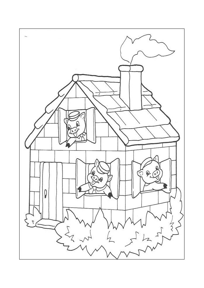 .The three little pigs heard the big bad wolf up on the roof.  They quickly built a fire in the fireplace and put a large pot filled with hot water over the fire.