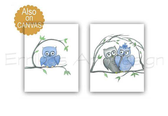 Owls Nursery Decor Baby Boy Nursery Owls Nursery Wall Art