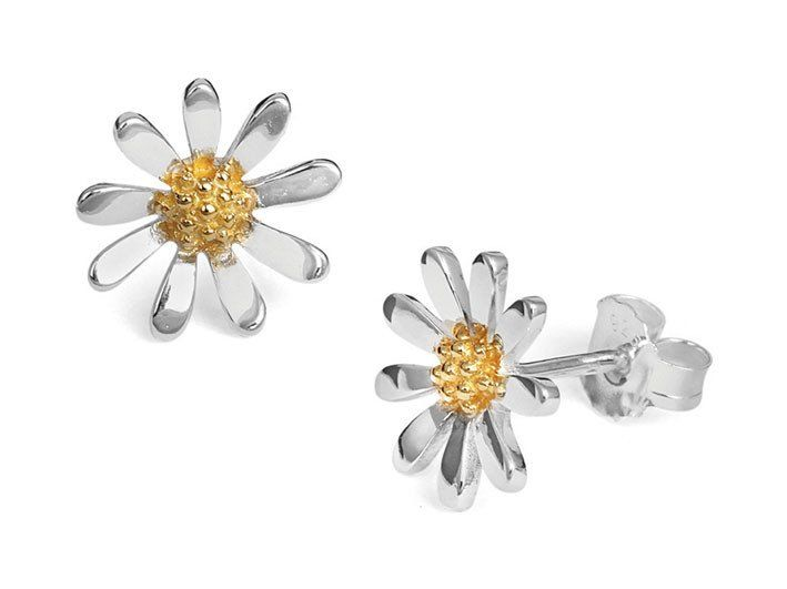 Silver Earrings - Daisy Chain Studs - Large